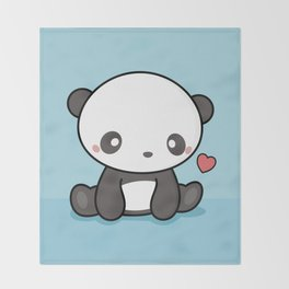 Cute Kawaii Panda With Heart Throw Blanket
