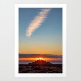 Sunset on top of volcano Art Print