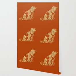 Gold dog on burnt orange Wallpaper