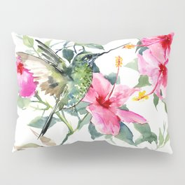 Hibiscus and Hummingbird, Hawaiian Aloha, birds and flowers design Pillow Sham