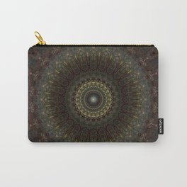 Ornamented mandala in green, red and brown tones Carry-All Pouch