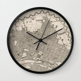 Vintage Map of Lima Peru (1764) Wall Clock