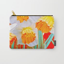 GOLDEN SPRING DAFFODILS RED GARDEN Carry-All Pouch
