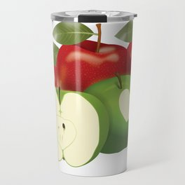 Apple with heart and a leaf in style Travel Mug