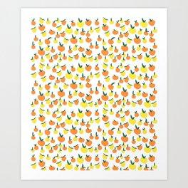 Handdrawn Lemons and Oranges Pattern Art Print