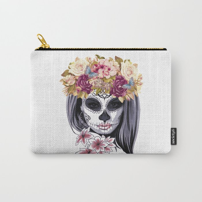 Flower Head Skull Carry-All Pouch