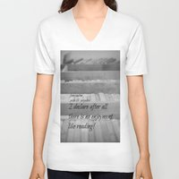 jane austen V-neck T-shirts featuring Jane Austen Reading by KimberosePhotography