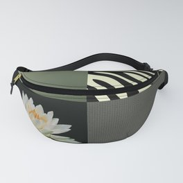 Water Lily and Zebra Green Patch Work Fanny Pack
