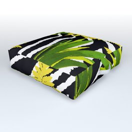 ZEBRA PALMS AND FERNS YELLOW AND GREEN Outdoor Floor Cushion