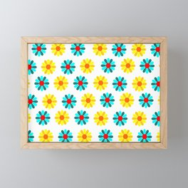 yellow and blue flowers decoration Framed Mini Art Print
