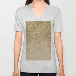 Girly trendy gold glitter ivory marble pattern Unisex V-Neck