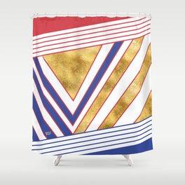 Art Deco Gold Blue Maritime #artdeco #minimal #art #design #kirovair #buyart #decor #home Shower Curtain