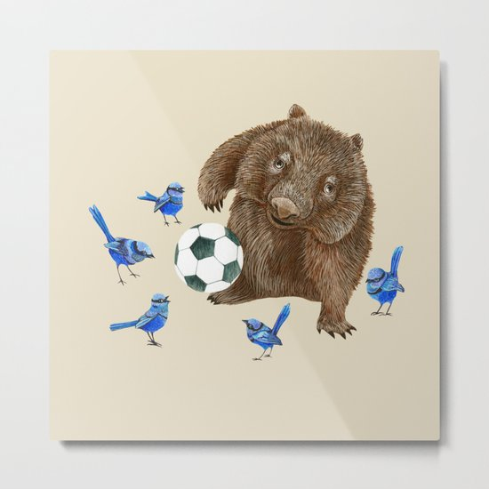 Blue wrens Wombat Football Metal Print