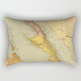 Vintage Map of Baja California (1886) Rectangular Pillow