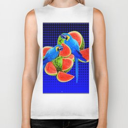 BLUE MACAWS EATING WATERMELONS ON ROYAL BLUE Biker Tank