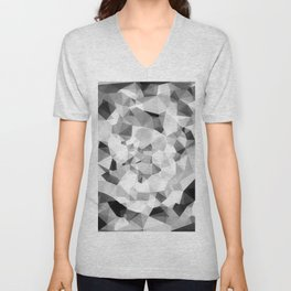 geometric polygon abstract pattern in black and white Unisex V-Neck
