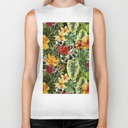 Tropical Vintage Exotic Jungle Flower Flowers - Floral watercolor pattern Biker Tank