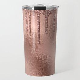 Rose Gold Glitter Drips Metallic Foil Travel Mug