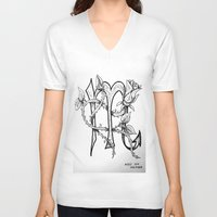 scorpio V-neck T-shirts featuring Scorpio by Megan Dill