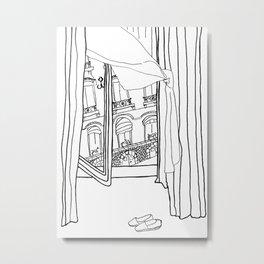 Window View in France  //  ink drawing Metal Print