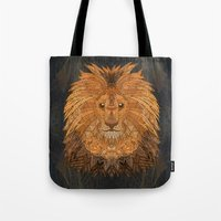 the lion king Tote Bags featuring King Lion by ArtLovePassion