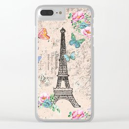 Paris - my love - France Nostalgy- pink French Vintage Clear iPhone Case