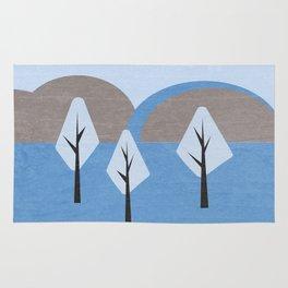 Simple blue landscape Rug