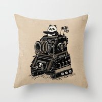 panda Throw Pillows featuring Panda by Ronan Lynam