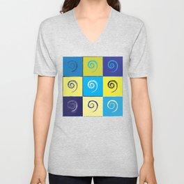 Spirals on Squares Unisex V-Neck