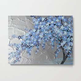 blue cherry blossom with silver grey gray white tree trees japanese japan beautiful prints Metal Print
