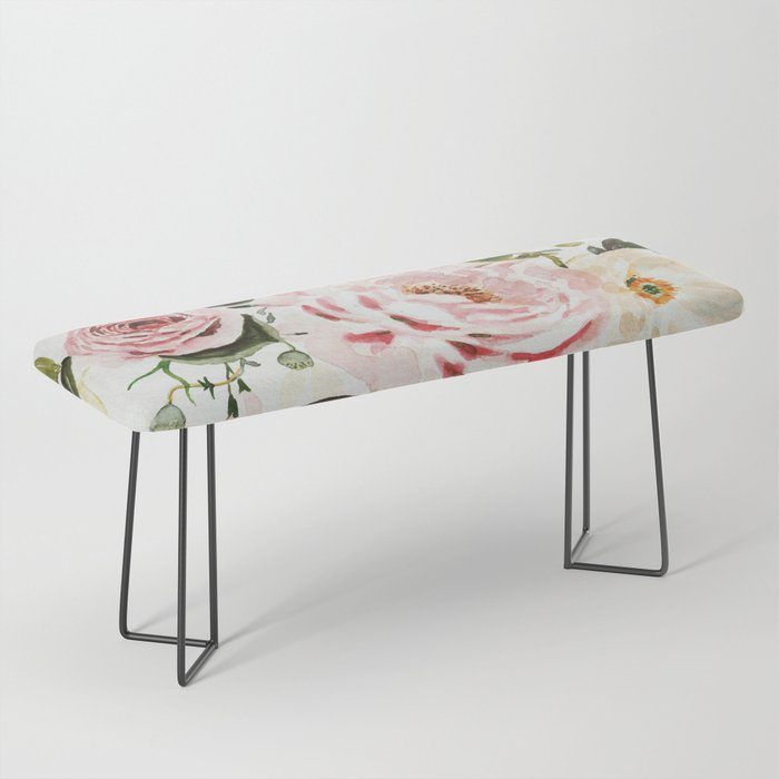 Loose Peonies & Poppies Floral Bouquet Bench