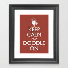 Keep Calm & Doodle On (Red) Framed Art Print