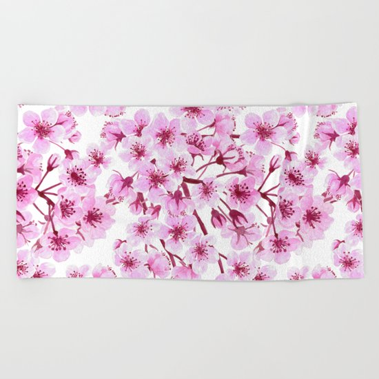 Cherry blossom pattern Beach Towel