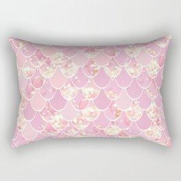 Girls Cute Mermaid Art, Pink and Gold Rectangular Pillow