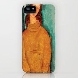 """Amedeo Modigliani """"Jeanne Hebuterne in a Yellow Jumper"""" iPhone Case"""