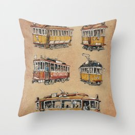 Old vintage yelow trams -nostagic pubic transport Throw Pillow