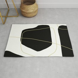Black and White Scandinavian Abstract Art Rug