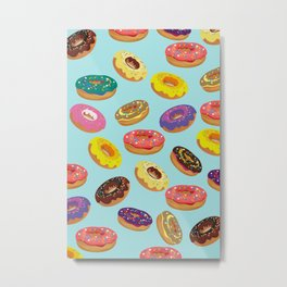 Donuts Pattern Kitchen Home Decor Sky Blue Art Print Donuts Poster Decoration Cartoon Graphic Design Metal Print