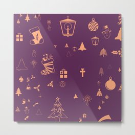 Christmas doodles Metal Print