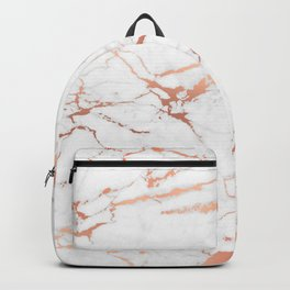 White rose-gold marble Backpack