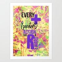positive Art Prints featuring (+) Positive! by Julieta Gutnisky