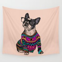 frenchie Wall Tapestries featuring hipster frenchie by Huebucket