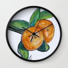 Two Oranges Wall Clock