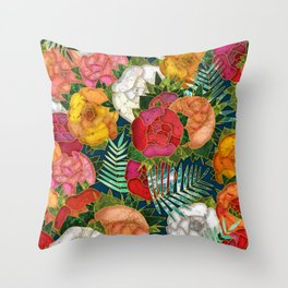 Old school roses Throw Pillow