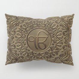 Decorative Ek Onkar / Ik Onkar  embossed on gold Pillow Sham