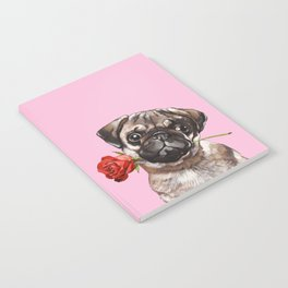 Pug with Red Rose Notebook