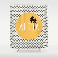 typewriter Shower Curtains featuring ALOHA typewriter by uzualsunday