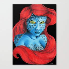 Mutant Ariel. The Little Mermaid / X-men Mystique crossover Canvas Print