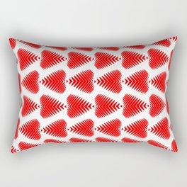 Red striped hearts on a white background. Rectangular Pillow