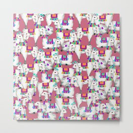 Pink llamas Metal Print